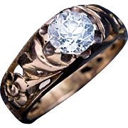 Antique Art Nouveau 1.22 Ct Diamond Openwork 14K Gold Ring