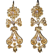 "Antique 1800s Gold Filigree Pearl ""Day to Night"" Earrings"