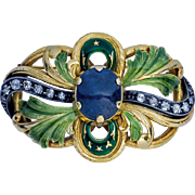Art Nouveau Antique Sapphire Diamond Enamel Gold Brooch