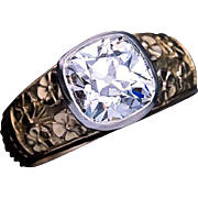 Art Nouveau Antique 2.83 Ct Diamond Chased 14k Gold Mens Ring