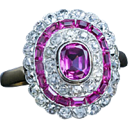 Vintage Polish Art Deco 1920s Pink Sapphire Diamond Engagement Ring