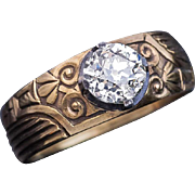 Antique Russian 1.23 Ct Diamond Solitaire Mens Ring