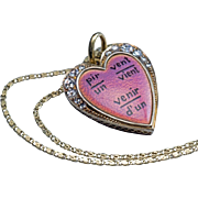 Unusual Antique 19th Century Enamel Diamond Gold Heart Pendant Necklace