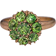 Antique Russian Demantoid Cluster Rose 14k Gold Ring