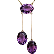 Antique Russian Amethyst 14k Gold Negligee Pendant Necklace