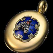 Antique Victorian 14K Gold Enamel Diamond Novelty Locket Pendant