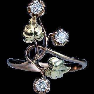 Antique Russian Art Nouveau Diamond Two-Color 14K Gold Flower Ring