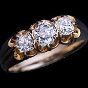 Antique Victorian Era Three Stone Diamond 14K Gold Ring