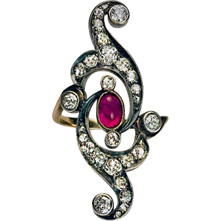 Art Nouveau Antique Russian Ruby Diamond Openwork Long Ring