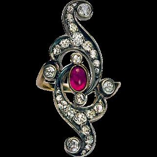 Art Nouveau Antique Russian Ruby Diamond Openwork Long Ring