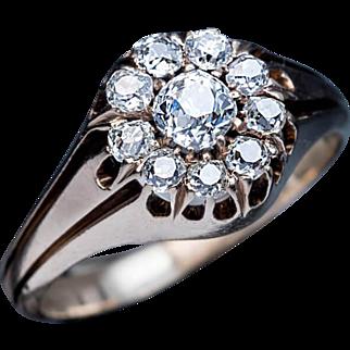 19th Century Antique Russian Diamond Cluster 14k Gold Men's Ring