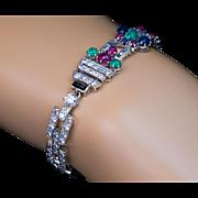 "Art Deco Vintage ""Tutti Frutti"" Gemstone Platinum Bracelet"