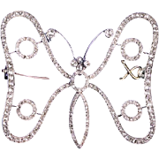 Art Nouveau Antique Diamond Butterfly Brooch Pin c. 1900