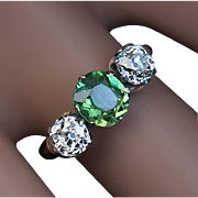 Antique Russian Demantoid Diamond Three Stone Engagement Ring