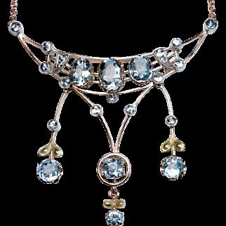 Antique Edwardian Era Aquamarine 14K Gold Pendant Necklace