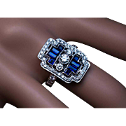 Geometric Design Diamond Sapphire White Gold Ring