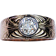 Vintage Art Deco 1.28 Ct Diamond Carved 14K Gold Mens Ring