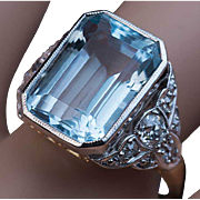 Art Deco Vintage Aquamarine Diamond Platinum 14K Gold Ring