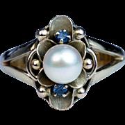 Antique Art Nouveau Pearl 14k Green Gold Flower Ring
