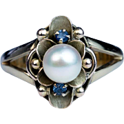 Antique Art Nouveau Pearl 14k Green Gold Flower Ring