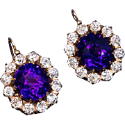 Rare Antique Russian Siberian Amethyst Diamond Earrings
