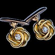 Antique Russian Diamond 14k Gold Knot Cufflinks