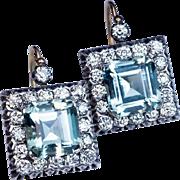 Large  Aquamarine Diamond Vintage Art Deco Earrings