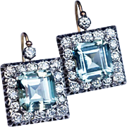Large  Aquamarine Diamond Vintage Art Deco Earrings
