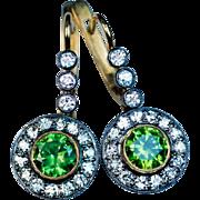 Rare Russian Demantoid and Diamond Drop Earrings