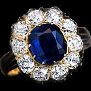 Antique Russian Sapphire Diamond Engagement Ring