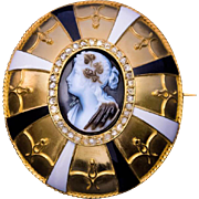 Museum Quality Antique Victorian Agate Cameo 18k Gold Enamel Diamond Brooch Pin