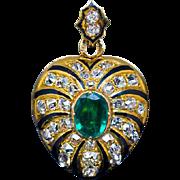Antique Emerald Diamond Enamel 14K Gold Heart Locket