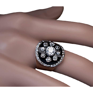 Antique Victorian Black Enamel Diamond Ring