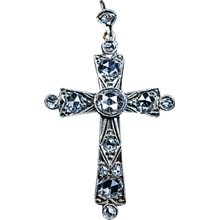 Antique Edwardian Rose Cut Diamond Cross Pendant