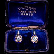 Antique Solitaire 1 Ct + 1 Ct Diamond Blue Enamel Earrings