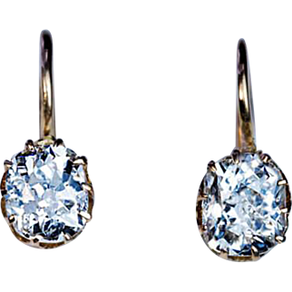 Antique Russian 1.51 Cttw Solitaire Diamond Earrings