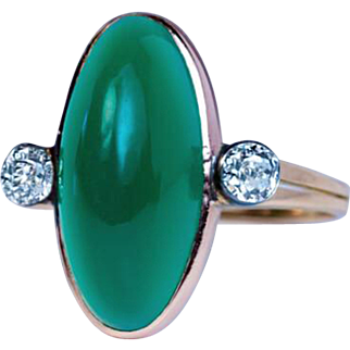 Antique Russian Chrysoprase Diamond 14k Gold Ring