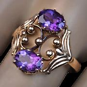 Vintage Russian Amethyst 14K Rose Gold Ring