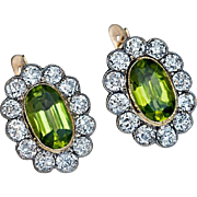 Antique Russian Peridot Diamond Cluster Earrings