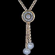 Antique Russian Diamond Pearl 14 k Gold Drop Necklace