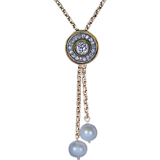 Antique Russian Diamond Pearl 14 k Gold Drop Necklace