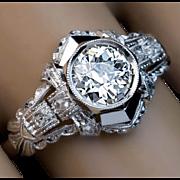 Vintage Art Deco 0.85 Ct Old European Diamond Engagement Ring