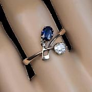 Antique Russian Art Nouveau Sapphire Diamond 14K Gold Flower Ring