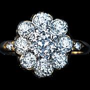 Antique 2.30 Cttw Diamond Cluster Platinum 18K Gold Engagement Ring