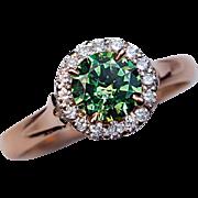 Russian Demantoid Diamond 14k Rose Gold Engagement Ring