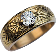 Antique 0.62 Ct Diamond Chased 14k Gold Mens Ring