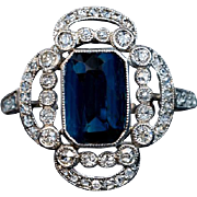 Vintage Art Deco Sapphire Diamond Platinum Openwork Engagement Ring