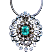 Vintage Austrian Emerald Diamond White 14K Gold Openwork Pendant
