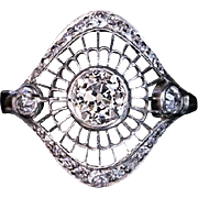 Vintage Art Deco 0.78 Ct Diamond Openwork Platinum 18K Gold Engagement Ring