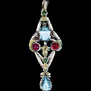 Art Nouveau Aquamarine Spinel Demantoid 14K Gold Pendant